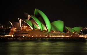 Opera House Green Light On The Night