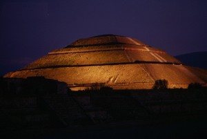 Teotihuacan Sun Pyramid at Night