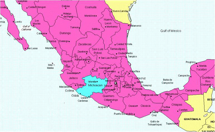 Michoacan State Map.Historic Centre Of Morelia Historical Facts And Pictures The